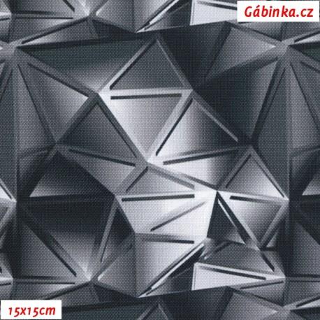 Kočárkovina Primax, Trojúhelníky 3D šedé, 15x15 cm