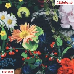 Kočárkovina Primax, Květy na černé, 15x15 cm