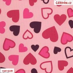 Kočárkovina Primax, Srdíčka na růžové, 15x15 cm