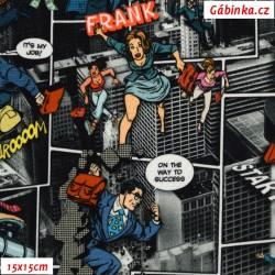 Teplákovina s EL - Komiks bankovní loupež, ATEST 1, digitální tisk, 15x15 cm