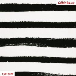 Úplet s EL - Pruhy černobílé malované, 15x15 cm