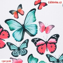Waterproof Fabric Premium - Pink and Mint Butterflies on White, width 155 cm, 10 cm, Certificate 1