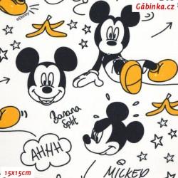 Plátno - Mickey-Mouse s banánem na bílé, LICENCE, 15x15 cm