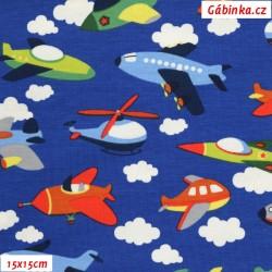 Úplet s EL - Barevná letadla na královsky modré, 15x15 cm