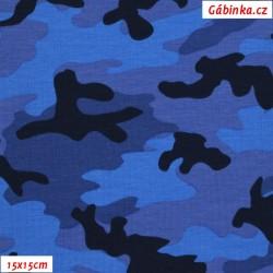 Úplet s EL - Maskáč modrý, 15x15 cm