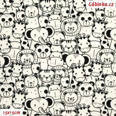 Úplet s EL - Obrysy zvířátek černé na přírodní bílé, 15x15 cm