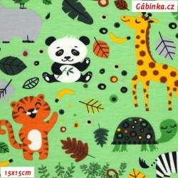 Úplet s EL - Zvířátka ZOO s opičkou na zelené, 15x15 cm