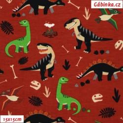 Úplet s EL - Dinosauři s kostmi na červené, 15x15 cm