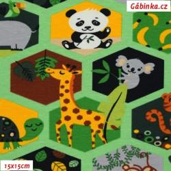 Úplet s EL - Zvířátka ZOO v hexagonech na zelené, 15x15 cm