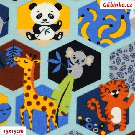 Úplet s EL - Zvířátka ZOO v hexagonech na sv. modré, 15x15 cm