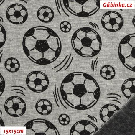 Warmkeeper - Fotbalové míče na šedém melíru, 15x15 cm