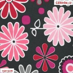 Kočárkovina MAT, Rozkvetlá louka růžová, šíře 160 cm, 10 cm, Atest 1