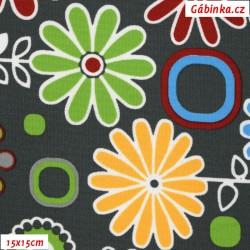 Kočárkovina MAT, Rozkvetlá louka pestrobarevná na šedé, šíře 160 cm, 10 cm, Atest 1