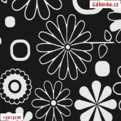 Kočárkovina MAT, Rozkvetlá louka černobílá, šíře 160 cm, 10 cm, Atest 1