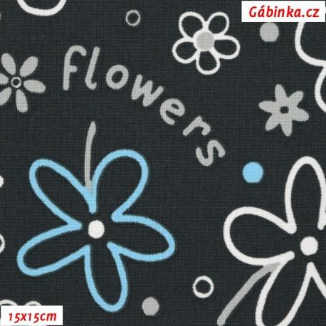 Kočárkovina MAT, Flowers kytky modré a bílé na šedé, 15x15 cm