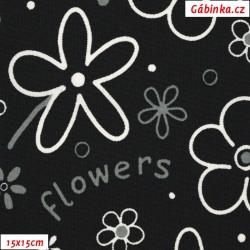 Kočárkovina MAT, Flowers - kytky bílé na černé, šíře 160 cm, 10cm, Atest 1