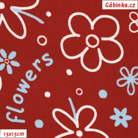 Kočárkovina MAT, Flowers kytky bílé na červené, 15x15 cm