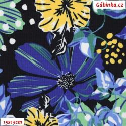 Kočárkovina MAT, Gerbery modré, žluté a zelené na tmavé, šíře 160 cm, 10 cm, Atest 1