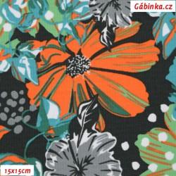 Kočárkovina MAT, Gerbery oranžové, zelené a šedé na tmavé, šíře 160 cm, 10 cm, Atest 1