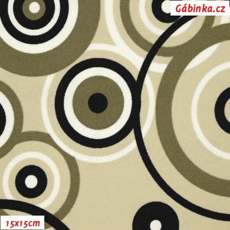Kočárkovina MAT, Černé a bílé kruhy na béžové, 15x15 cm