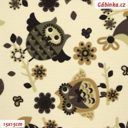 Kočárkovina MAT, Hnědé sovy na smetanové, šíře 160 cm, 10 cm, Atest 1
