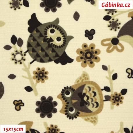 Kočárkovina MAT, Hnědé sovy na smetanové, 15x15 cm