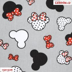 Plátno - Hlavy Mickey a Minnie menší s červenou na šedé, šíře 160 cm, 10 cm, ATEST 1