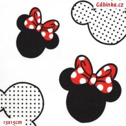 Plátno - Hlavy Mickey a Minnie větší s červenou na bílé, šíře 160 cm, 10 cm, ATEST 1