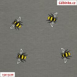 Úplet s EL - Žluté včelky na šedé, ATEST 1, 15x15 cm