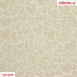 Režné plátno - Bílá srdíčka na režné, šíře 140 cm, 10 cm
