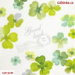 Režné plátno - Zelené čtyřlístky na bílé, 15x15 cm