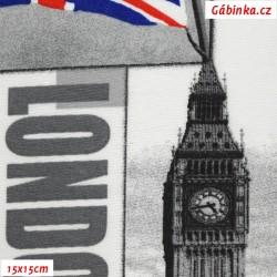 Režné plátno - Londýn na šedé, 15x15cm
