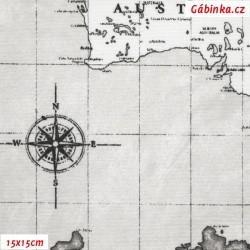 Režné plátno - Mapa světa černobílá, 15x15 cm