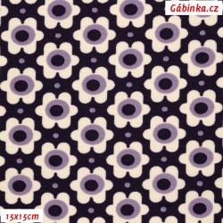 Kočárkovina MAT, Květinky smetanové na fialové, 15x15 cm