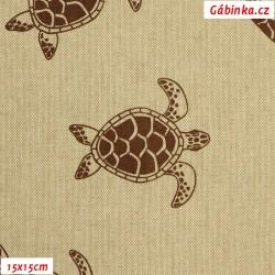 Režné plátno - Hnědé želvičky, 15x15 cm