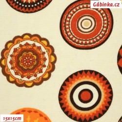 Režné plátno - Mandaly oranžovohnědé na smetanové, šíře 140 cm, 10 cm