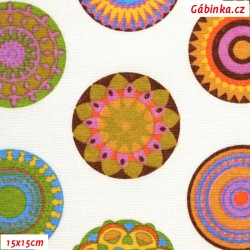 Režné plátno - Mandaly barevné na bílé, 15x15 cm