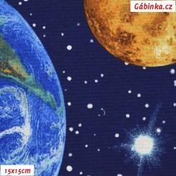 Režné plátno - Vesmír na tmavě modré, 15x15 cm