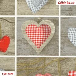 Režné plátno - Srdíčkové polštářky červené na dřevě, šíře 140 cm, 10 cm