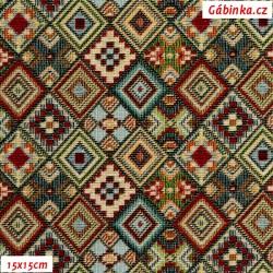 Dekorační látka - Aztécká tapisérie, 15x15 cm