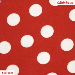 Plátno - Puntíky 2,5 cm bílé na červené, šíře 140 cm, 10 cm, ATEST 1, 2. jakost