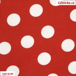 Plátno - Puntíky 2,5 cm bílé na červené, 15x15 cm