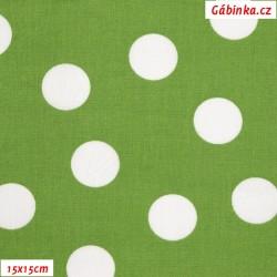Plátno - Puntíky 2,5 cm bílé na zelené, šíře 140 cm, 10 cm, ATEST 1, 2. jakost