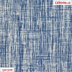 Režné plátno - Modrý melír, 15x15 cm