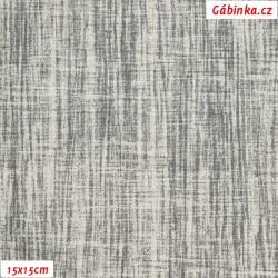 Režné plátno - Šedý melír, 15x15 cm