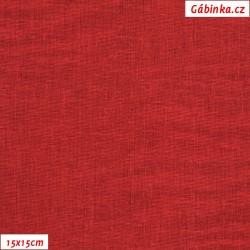 Režné plátno - Tmavě červené, 15x15 cm