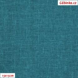Režné plátno - Zelený tyrkys, 15x15 cm
