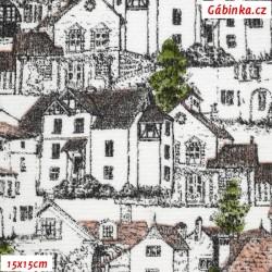 Režné plátno - Malovaná vesnička, šíře 140 cm, 10 cm
