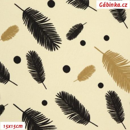 Kočárkovina MAT, Pírka hnědá a béžová na smetanové, 15x15 cm
