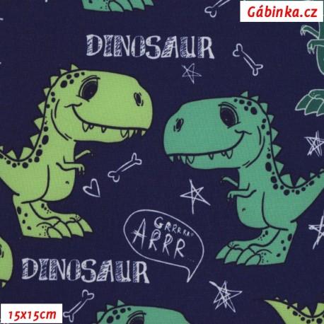 Zimní softshell - Dinosauři na tmavě modré, 15x15 cm